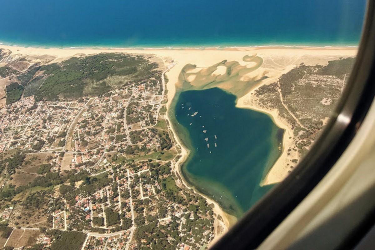 Lagoa de Albufeira dall'aereo Alentejo