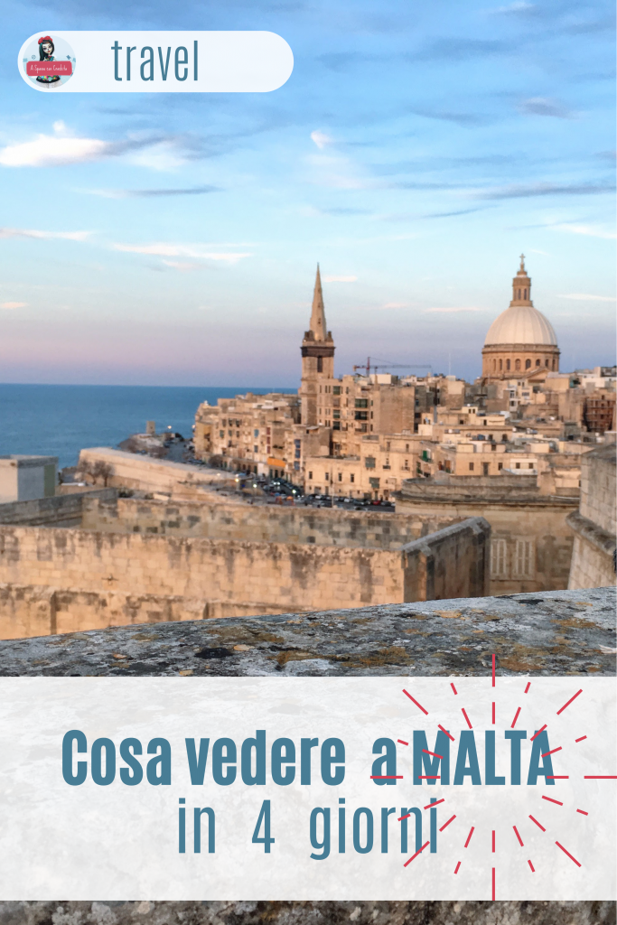 Viaggio a Malta cosa vedere in 4 giorni grafica per Pinterest