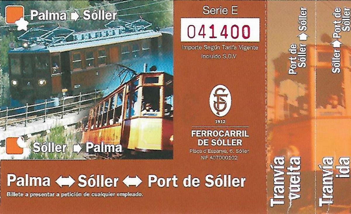 Biglietto combinato ar del treno do Soller