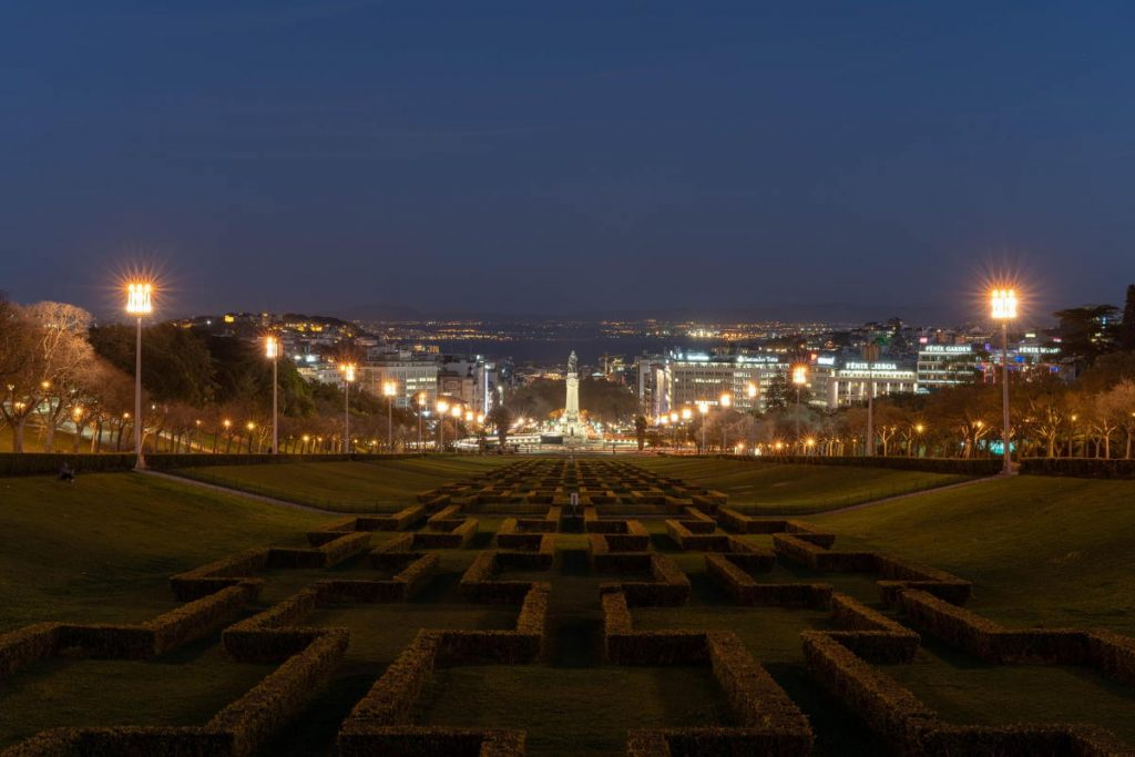 Parco Eduardo VII tramonto a Lisbona